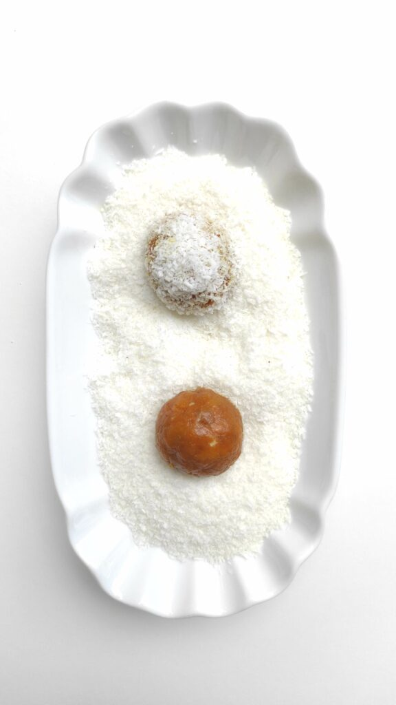 Carrot balls in desiccated coconut