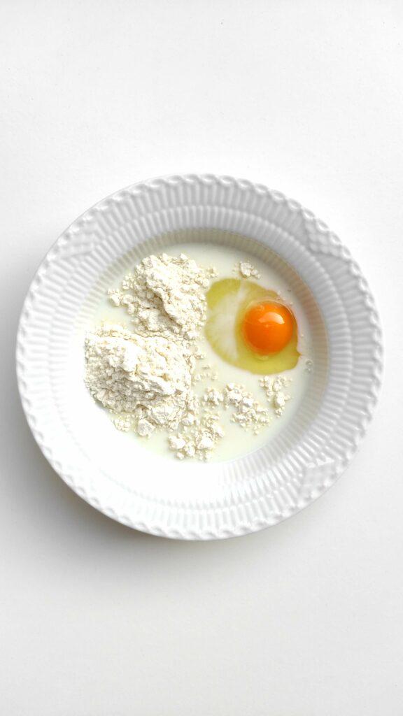 Egg, flour and milk